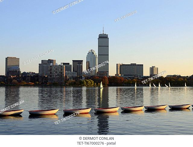 Charles River, Row of boats on river