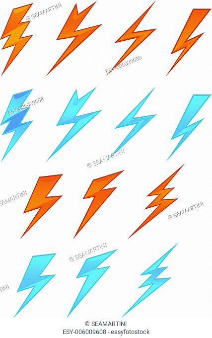 Lightning icons and symbols set on white background
