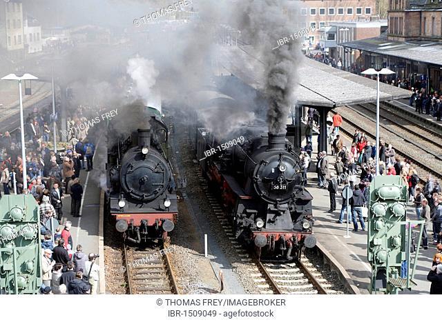 Dampfspektakel 2010 steam train show at Gerolstein station, passenger train engine 2455 Posen, left, with freight train engine 58311, Gerolstein