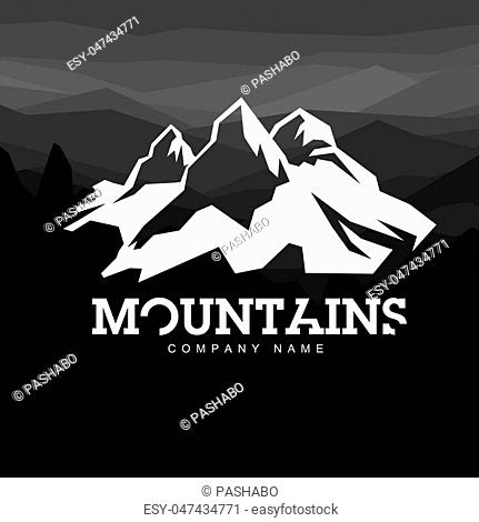 Mountain line art icon, outline vector logo illustration, linear pictogram isolated on black. With thin line alphabet for your headline