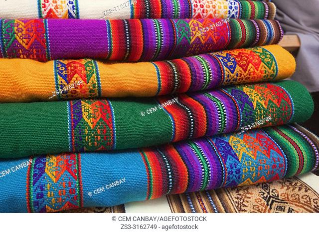 Traditional carpets and rugs for sale at the shop, La Paz, Bolivia, South America