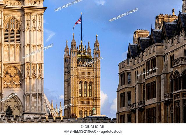 United Kingdom, London, Westminster, Victoria Tower from Westminster Abbey courtyard