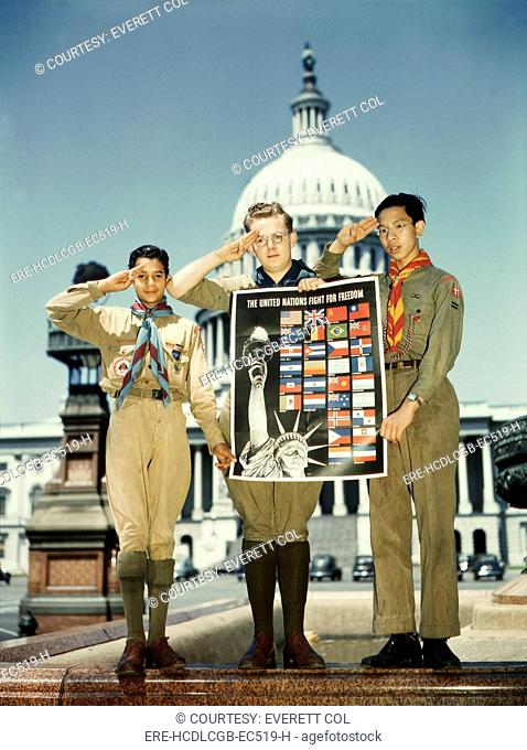 World War II, three Boy Scouts with a United Nations poster in front of the Capitol Building, original title: 'United Nations Fight for Freedom : colored