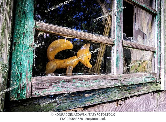 Plastic toy in abandoned house in Mashevo village of Chernobyl Nuclear Power Plant Zone of Alienation area around nuclear reactor disaster in Ukraine