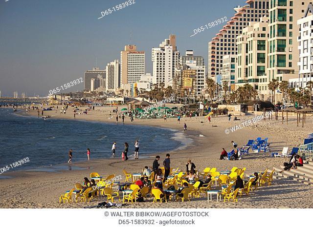 Israel, Tel Aviv, beachfront hotels, late afternoon