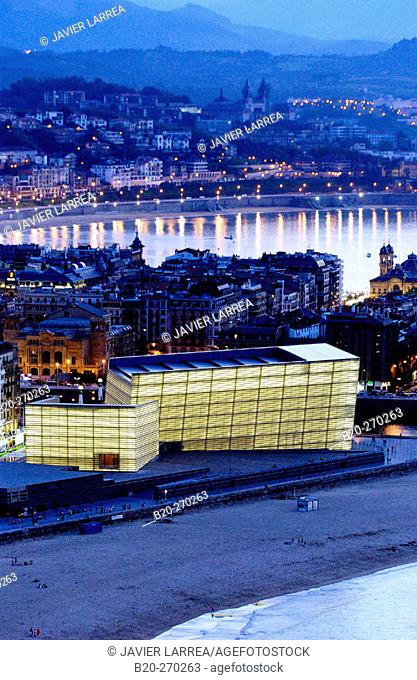Kursaal and Playa de la Zurriola. Bahía de la Concha. San Sebastian (Donostia). Guipuzcoa. Basque Country. Spain