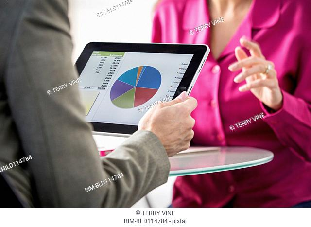 Businesswoman holding tablet computer with pie chart