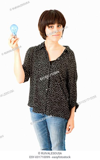 woman holding energy bulb, isolated on white
