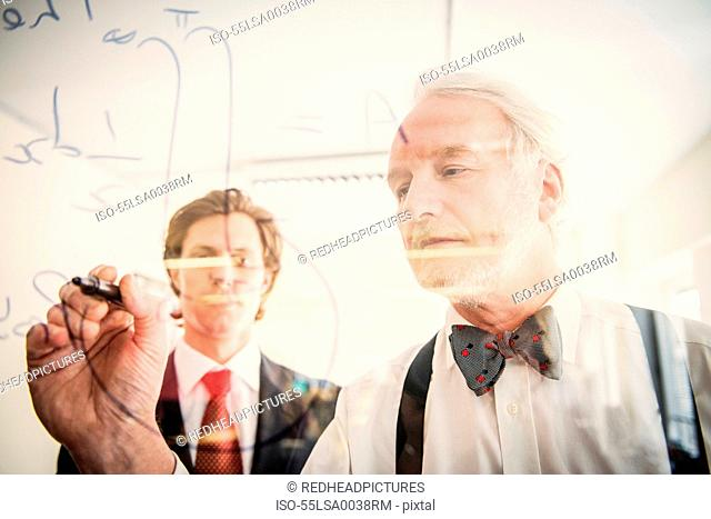 Two men writing on transparent wipe board