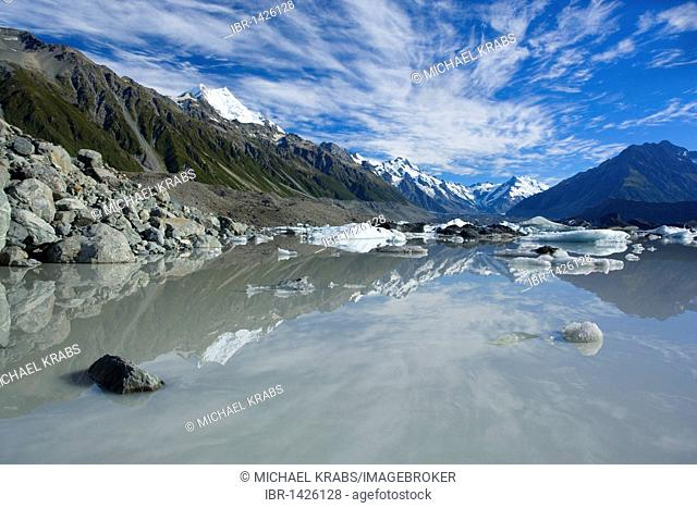 Mount Cook landscape, mountains of the Mount Cook National Park reflected in the glacial lake of the Tasman Glacier, Tasman Valley, Mount Cook National Park