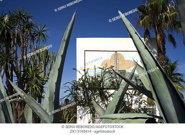 Aloe Vera Cactus, Graffiti on a wall in Sant Ferran de ses Roques, Formentera, Balearic islands, Spain. Mediterranean Sea