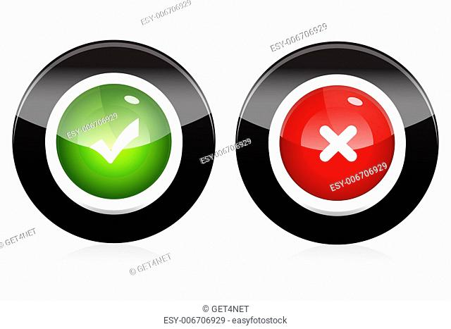 illustration of right and wrong buttons on white background