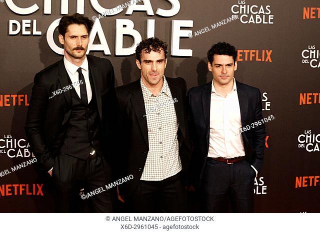Premiere of the Netflix series Las chicas del cable.Sergio Mur, Borja Luna y Nico Romero.Madrid. 27/04/2017.(Photo by Angel Manzano).
