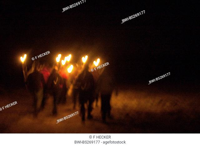 night walk with torches, Germany