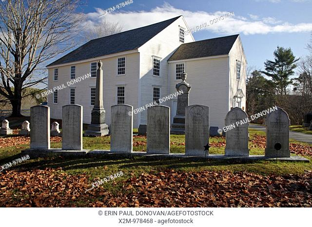 German Lutheran Meetinghouse during the autumn months  Located in Waldoboro, Maine USA This church and cemetery is listed on the National Register of Historic...