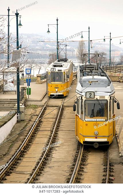 Trams in Budapest, Hungary, Danube behind