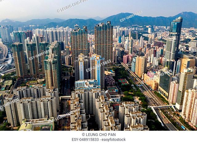 Mong Kok, Hong Kong 14 September 2018:- Drone fly over Hong Kong city