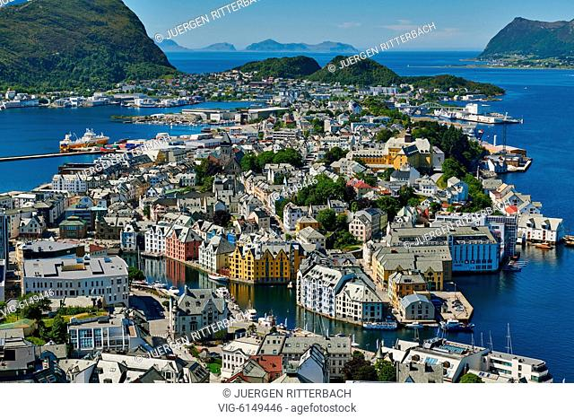NORWAY, ÅLESUND, 30.06.2018, View from Aksla hill over Alesund and surrounding waters, Byrampen Viewpoint , More og Romsdal, Norway, Scandinavia