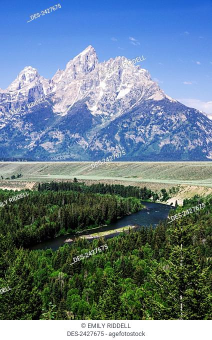 Snake River overlook, Teton Mountains in the distance; Wyoming, United States of America