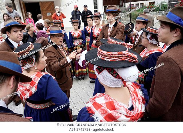 Switzerland, Valais, Val d'Herens, village of Evolene in summer during the first of august or national day
