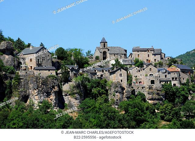 Cantobre, medieval village, Dourbie Valley, Grands Causses Natural Regional Park, Aveyron, Midi-Pyrénées, France