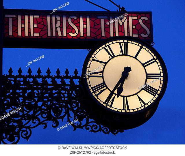 The illuminated Irish Times Clock, Townsend Street, Dublin. The clock was formerly on the old Irish Times office on D'Olier Street