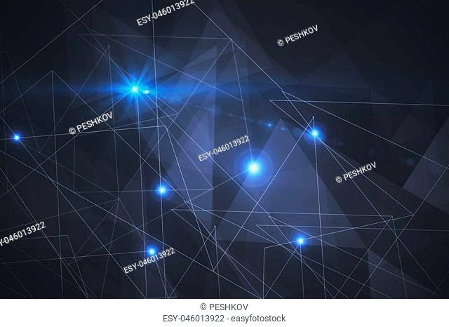 Connected dots on dark background. Technology concept. 3D Rendering