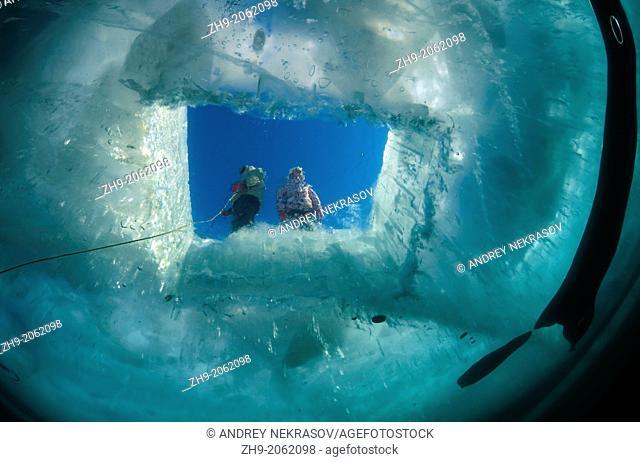 ice-diving, in lake Baikal, Siberia, Russia, island Olkhon