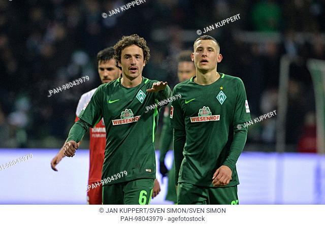 left to right: Thomas DELANEY (HB), Maximilian EGGESTEIN (HB), gesture, gesture, Fussball 1. Bundesliga, 17. Spieltag, SV Werder Bremen (HB) - FSV FSV Mainz 05...