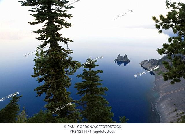 View of Phantom Ship from Sun Notch  Morning mist obscures the rim and horizon line - Crater Lake National Park Oregon