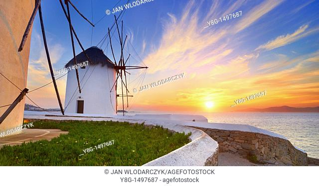Windmills of Mykonos Town, Mykonos, Cyklades, Greece