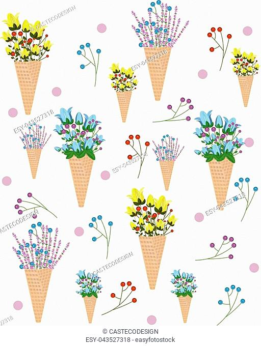 Flowers in an Ice cream cone pattern Vector summer illustration backgrounds