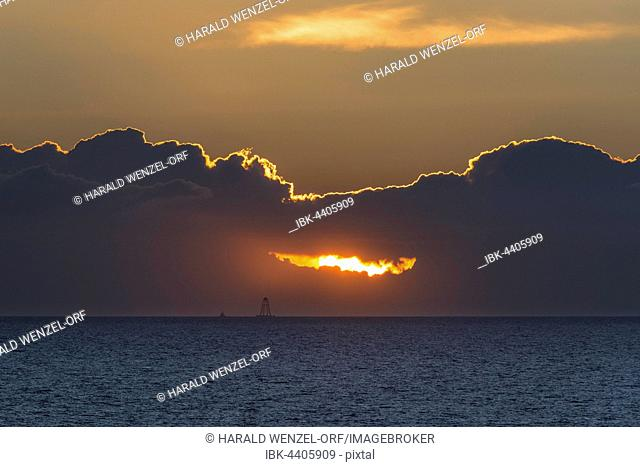 Sunset with dark clouds over the Baltic Sea, Wittow, Ruegen, Mecklenburg-Western Pomerania, Germany