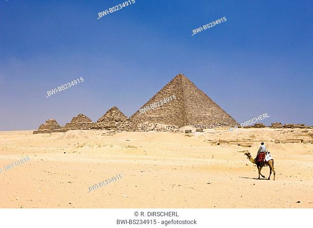 Pyramid of Menkaure and three small Pyramids of Queens, Egypt