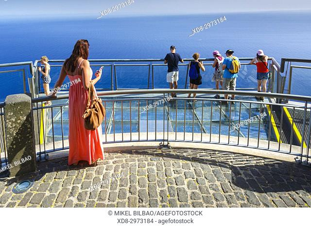 People in Cabo Girao viewpoint. Madeira, Portugal, Europe