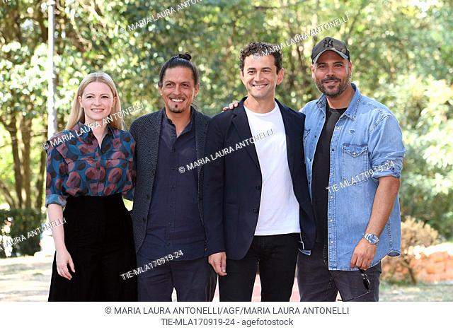 Jennifer Ulrich, the director Simone Catania Vinicio Marchioni, Marco D'Amore during the photocall of film ' Drive me home ' Rome, ITALY-17-09-2019
