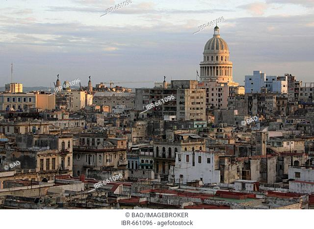 View of Havana's historic centre and El Capitolio national capitol building, Havana, Cuba, Caribbean