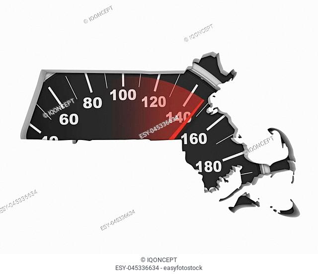 Massachusetts MA Speedometer Map Fast Speed Competition Race 3d Illustration