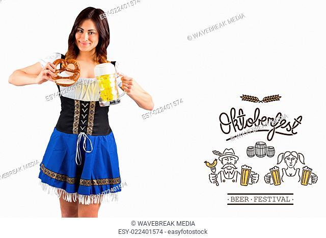Composite image of pretty oktoberfest girl holding beer tankard and pretzel