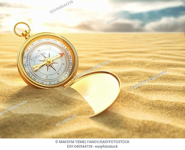 Compass on sea sand. Travel destination and navigation concept. 3d illustration