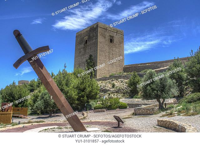 HDR image of the Large Sword and Alfonsina Tower at Lorca Castle in Murcia Spain