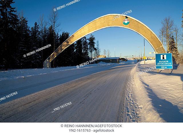 Entrance to Oulu city garbage dump at Ruskon jätekeskus. Location Rusko Oulu Finland Scandinavia Europe