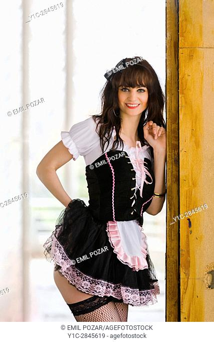 French-maid posing provocatively