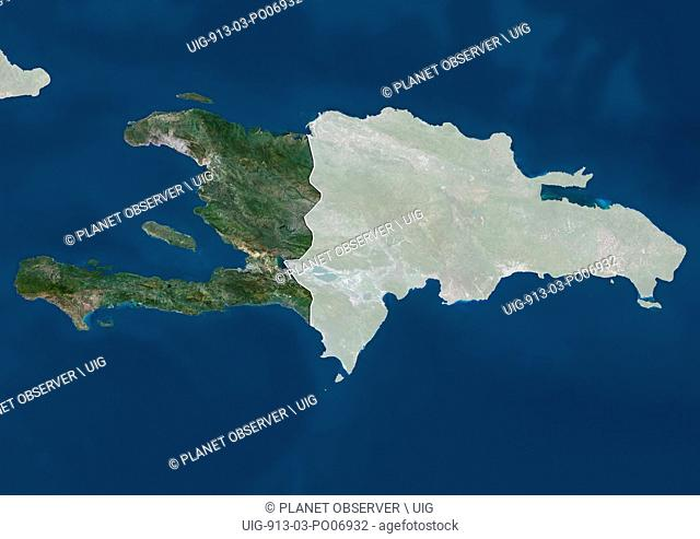 Satellite view of Haiti (with country boundaries and mask). This image was compiled from data acquired by Landsat satellites
