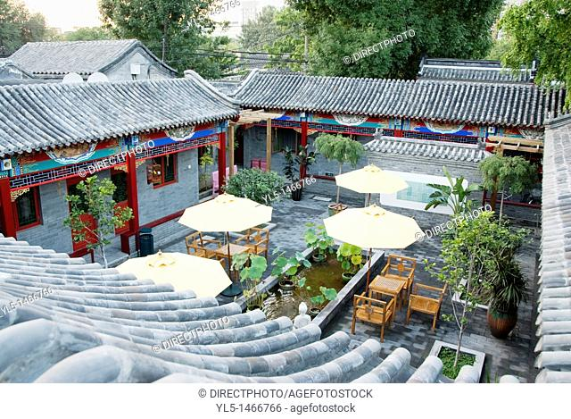 Beijing, China, Inside Courtyard Garden in the Boutique-Style Luxury Hotel, Coté Cour