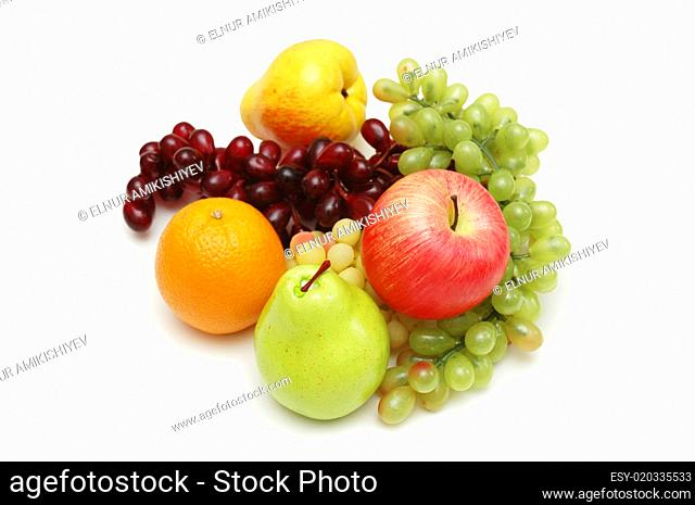 Selection of various fruits isolated on white
