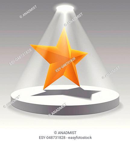 Golden star on the illuminated podium. Vector design