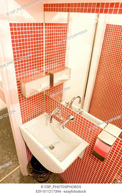 interior of bathroom in red colors