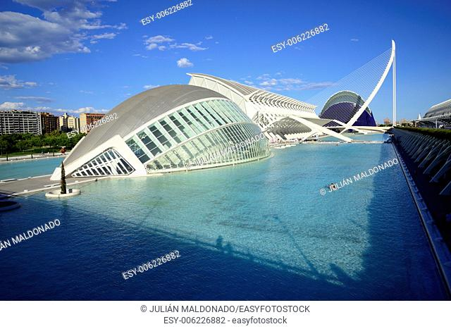 Hemispheric Building, Science Museum Principe Felipe and Agora, City of Arts and Sciences in Valencia, Spain
