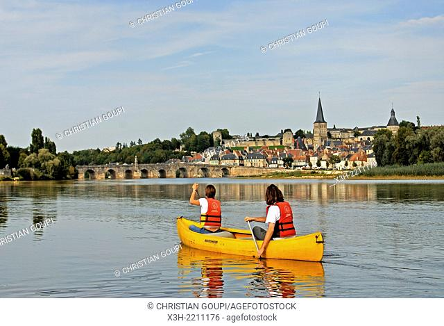 canoeing on Loire river in front of the city of La Charite-sur-Loire, Nievre department, Burgundy region, France, Europe